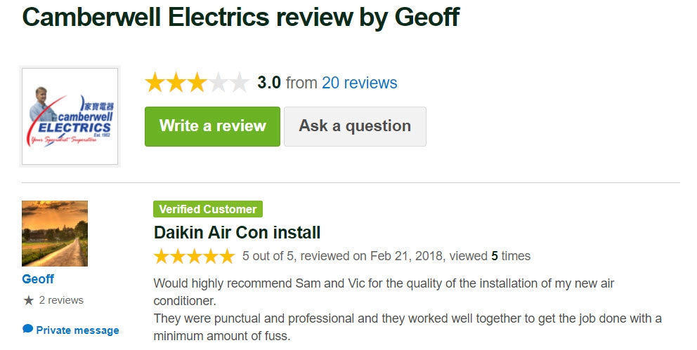 5 Star Customer Review by Geoff