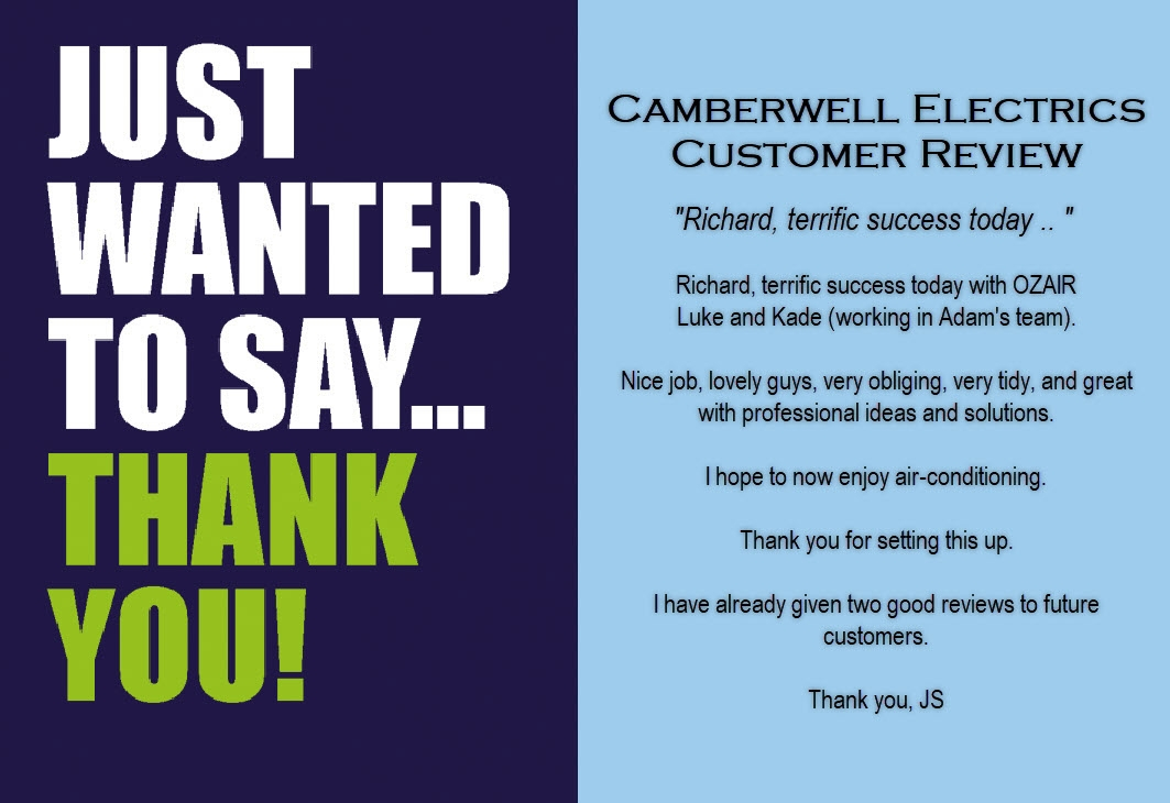 Camberwell Electrics 5 Star Customer Review by JS