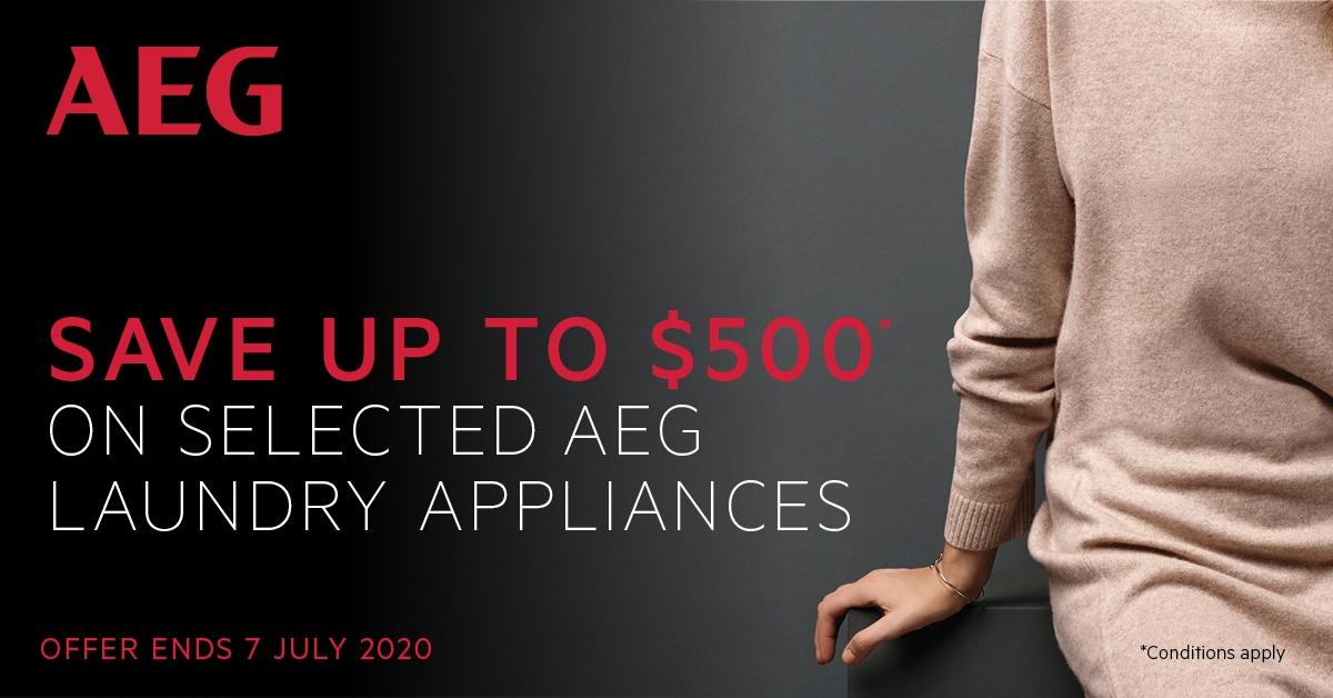 SAVE Upto $500 on Selected AEG Laundry Appliances