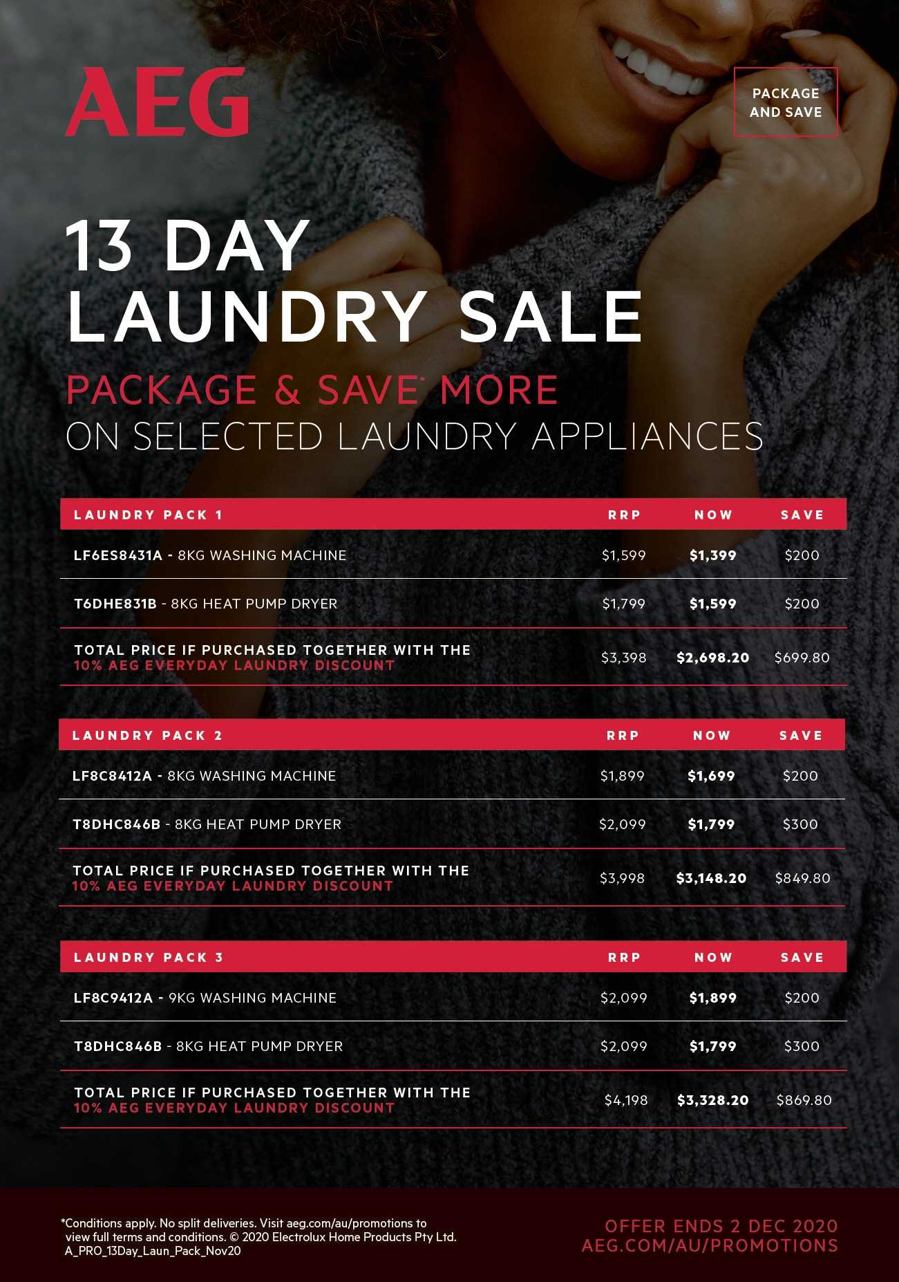 AEG 11 Day Laundry Package Sale Nov 2020