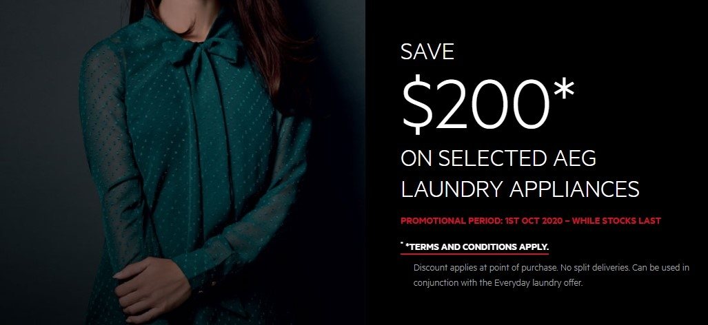 AEG $ 200 off on  selected Laundry Appliances