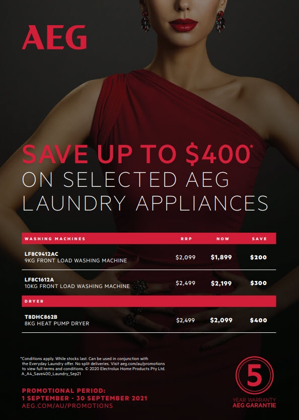 AEG Laundry Save Up To $400 Sept Oct 2021