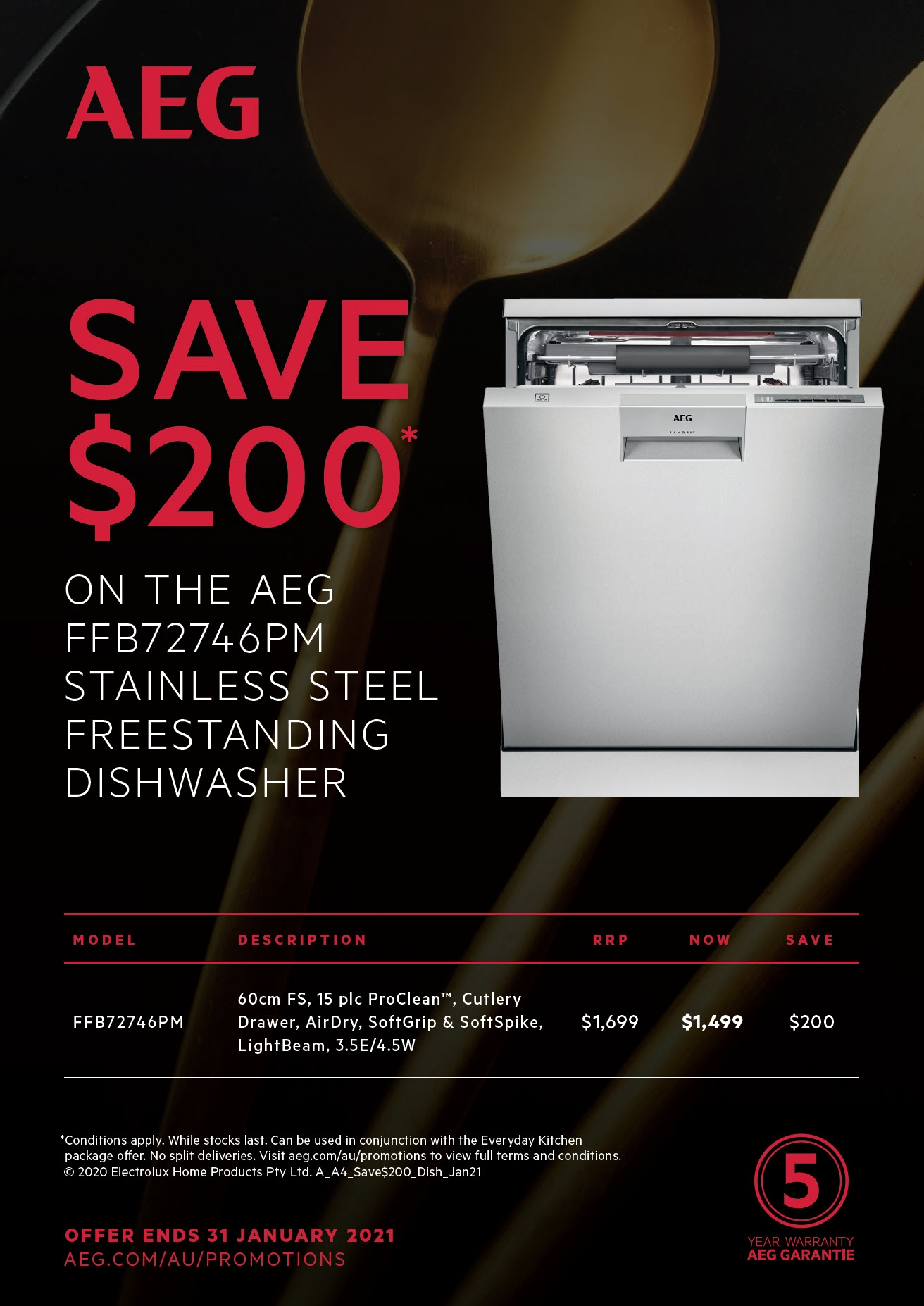 AEG Save $200 FFB72746PM Dishwasher Jan 2021