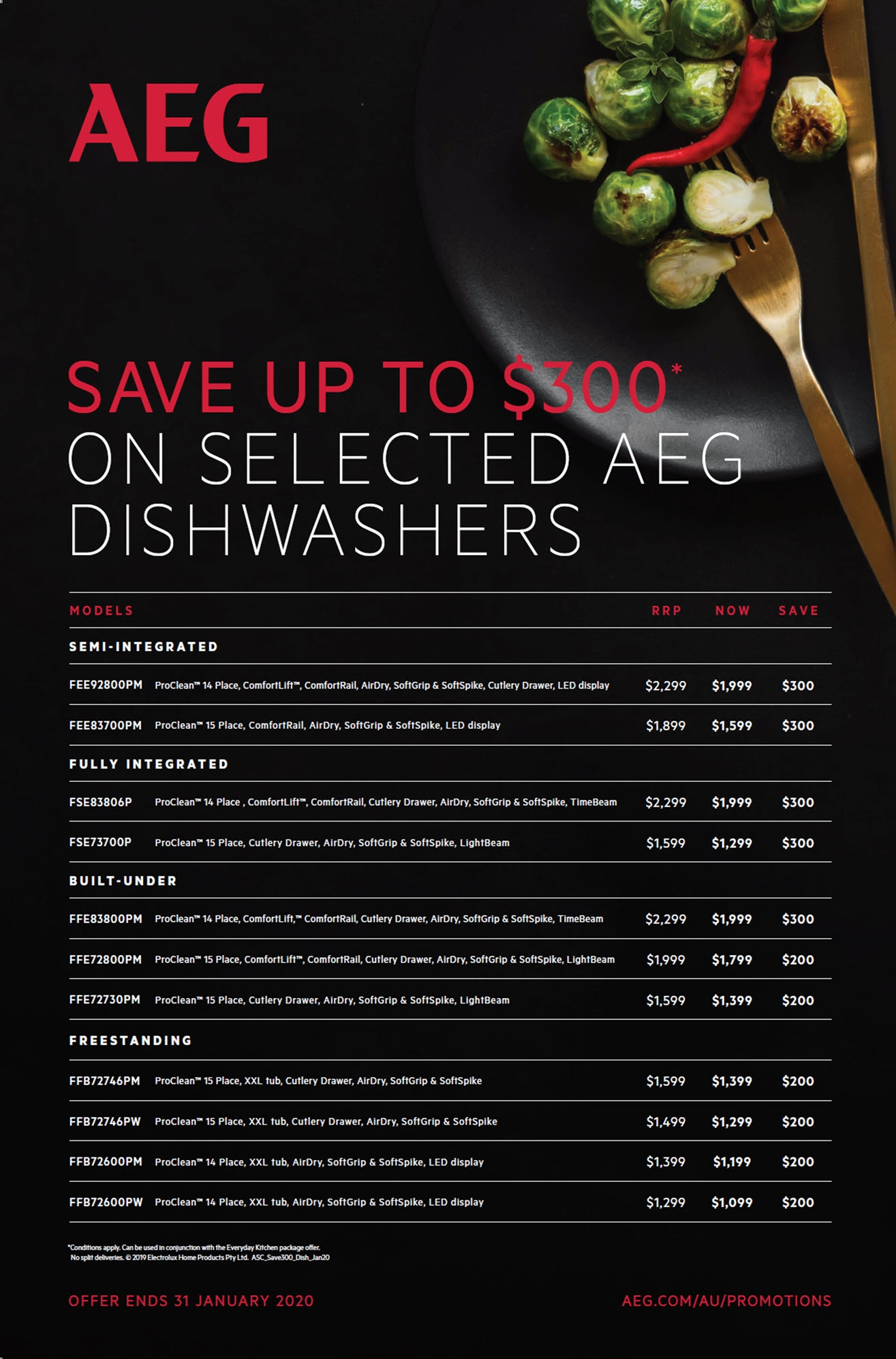 AEG Save $300 on Selected Dishwashers