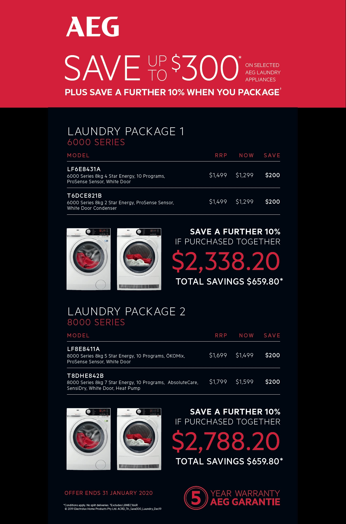 AEG Save $300 on Selected Laundry Package