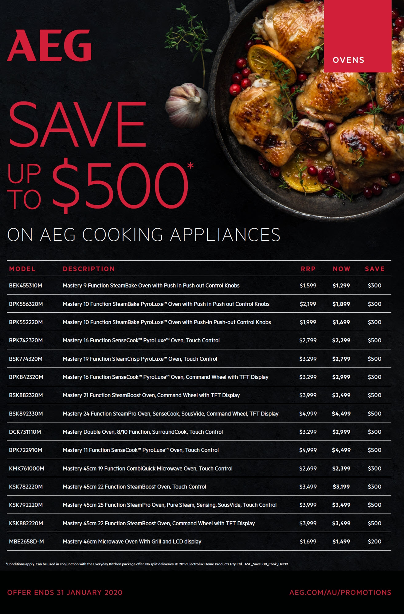 AEG Save $500 on selected Cooking Appliances
