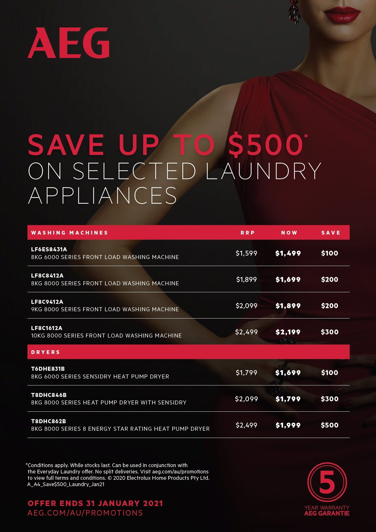 AEG Save Up To $500 on selected AEG Laundry Appliances Jan21