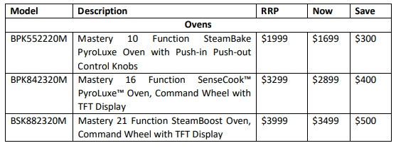 AEG Save up to $500 Ovens List April 2020