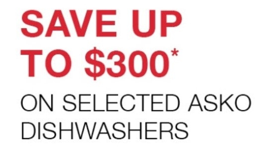 Save $300 on Selected ASKO Dishwasher