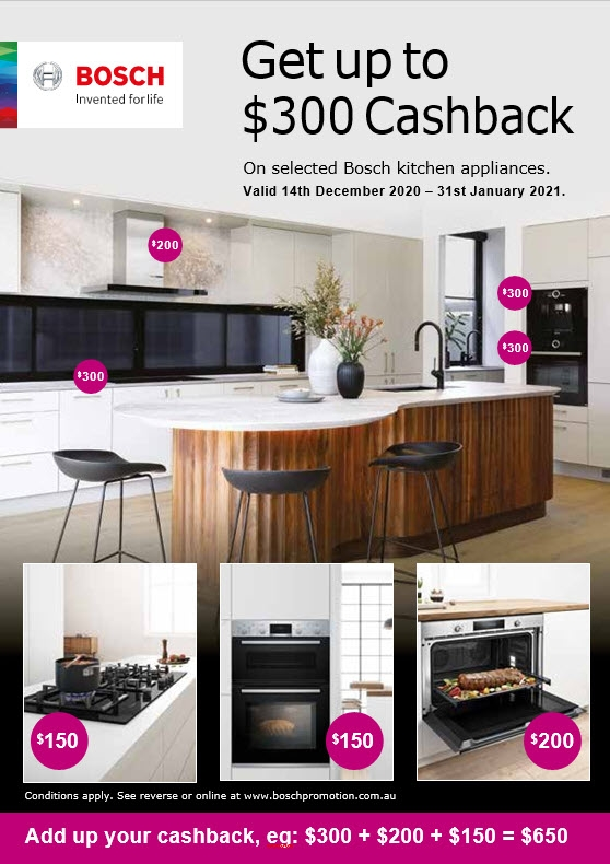 $300 Cashback on Selected Bosch Kitchen Appliances