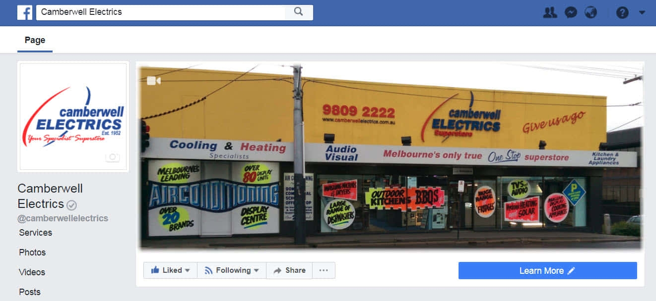 Camberwell Electrics Facebook Page Main Site
