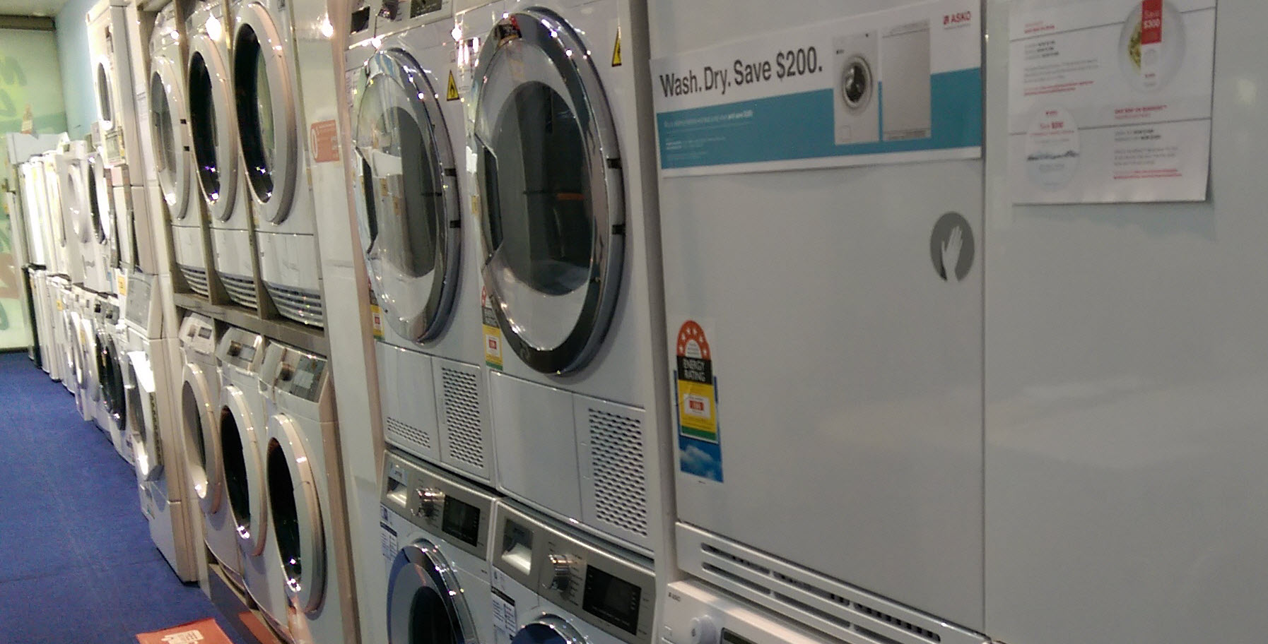 Camberwell Electrics In Store Walls filled with Washers & Dryers