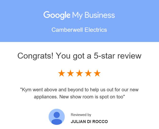 Congrats You got a 5 Star Review Julian Di Rocco