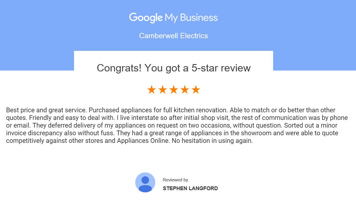 Congrats You got a 5 Star Review Stephen Langford