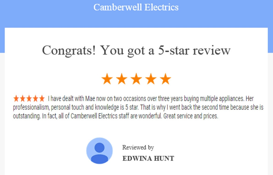 Camberwell Electrics 5 Star Review by Edwina Hunt