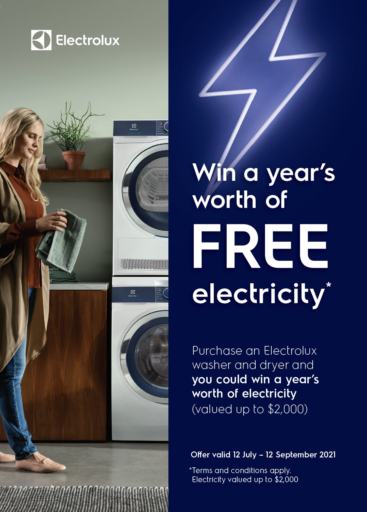 Electrolux Laundry Chance to Win promotion July12th 12th Sept