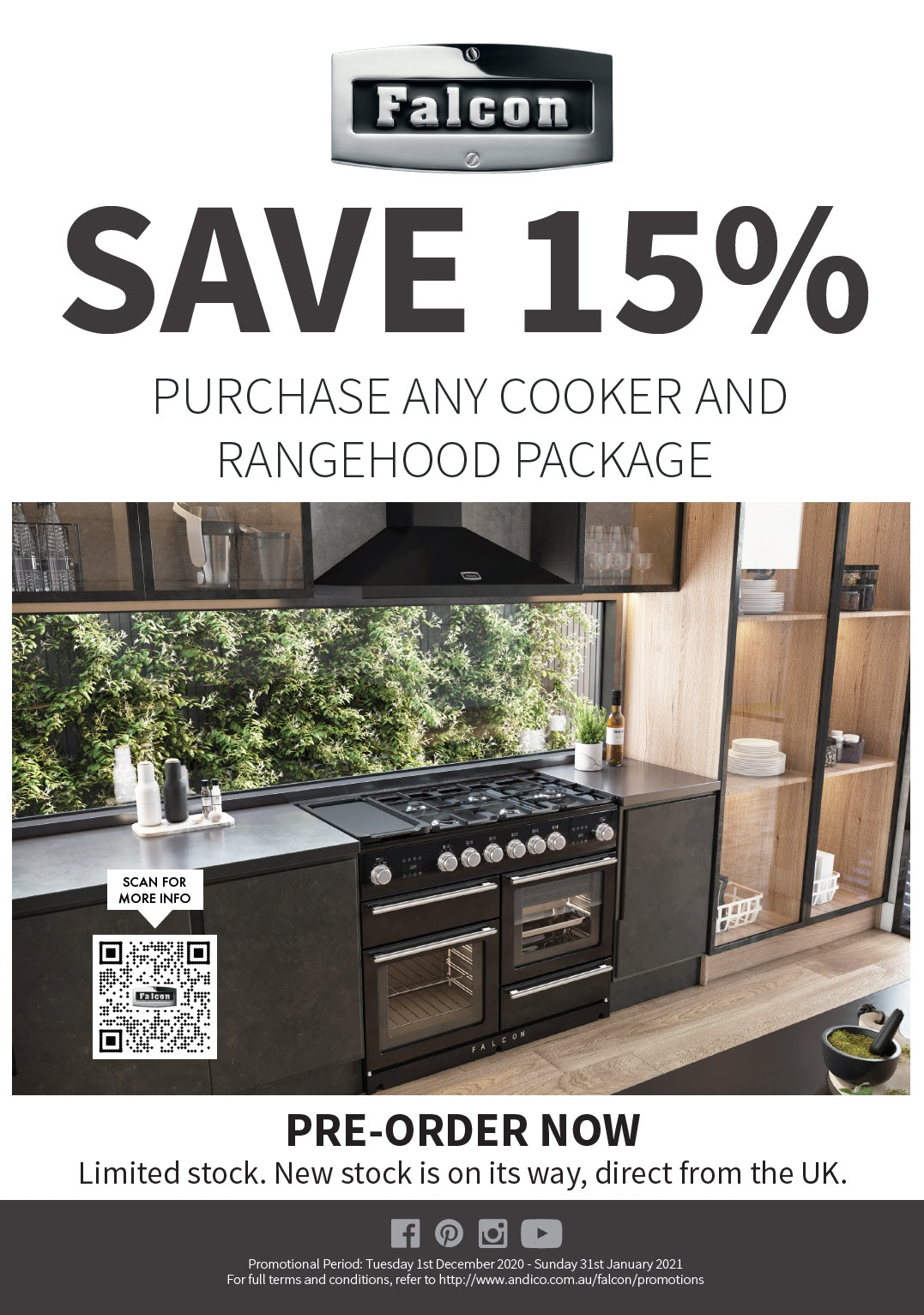Falcon Save 15% Of any Falcon Rangehood & Cooker Package