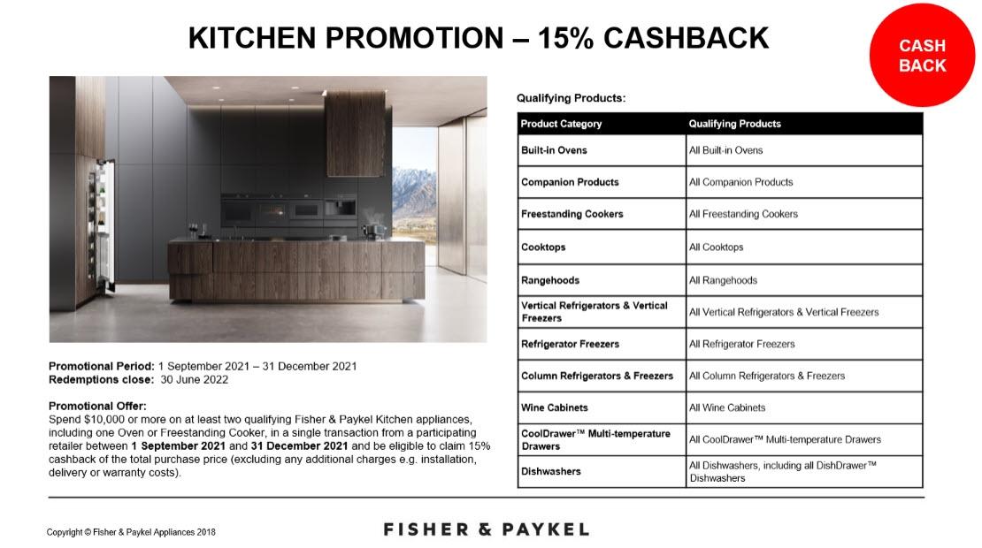 F&P Save 15% Cashback Kitchen Promotion Sept Dec 2021