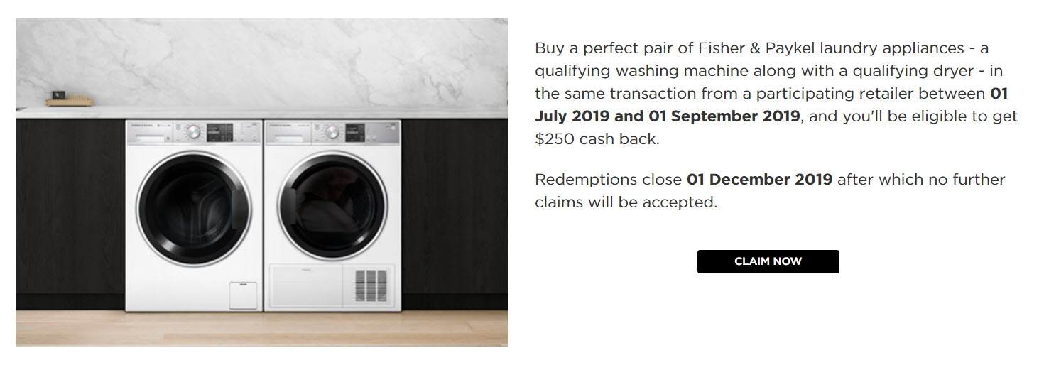 Fisher & Paykel $250 Cash Back Laundry Promotion