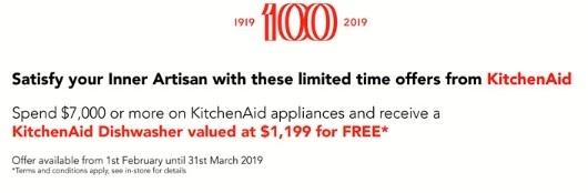 KitchenAid Dishwasher Offer Feb March 2019