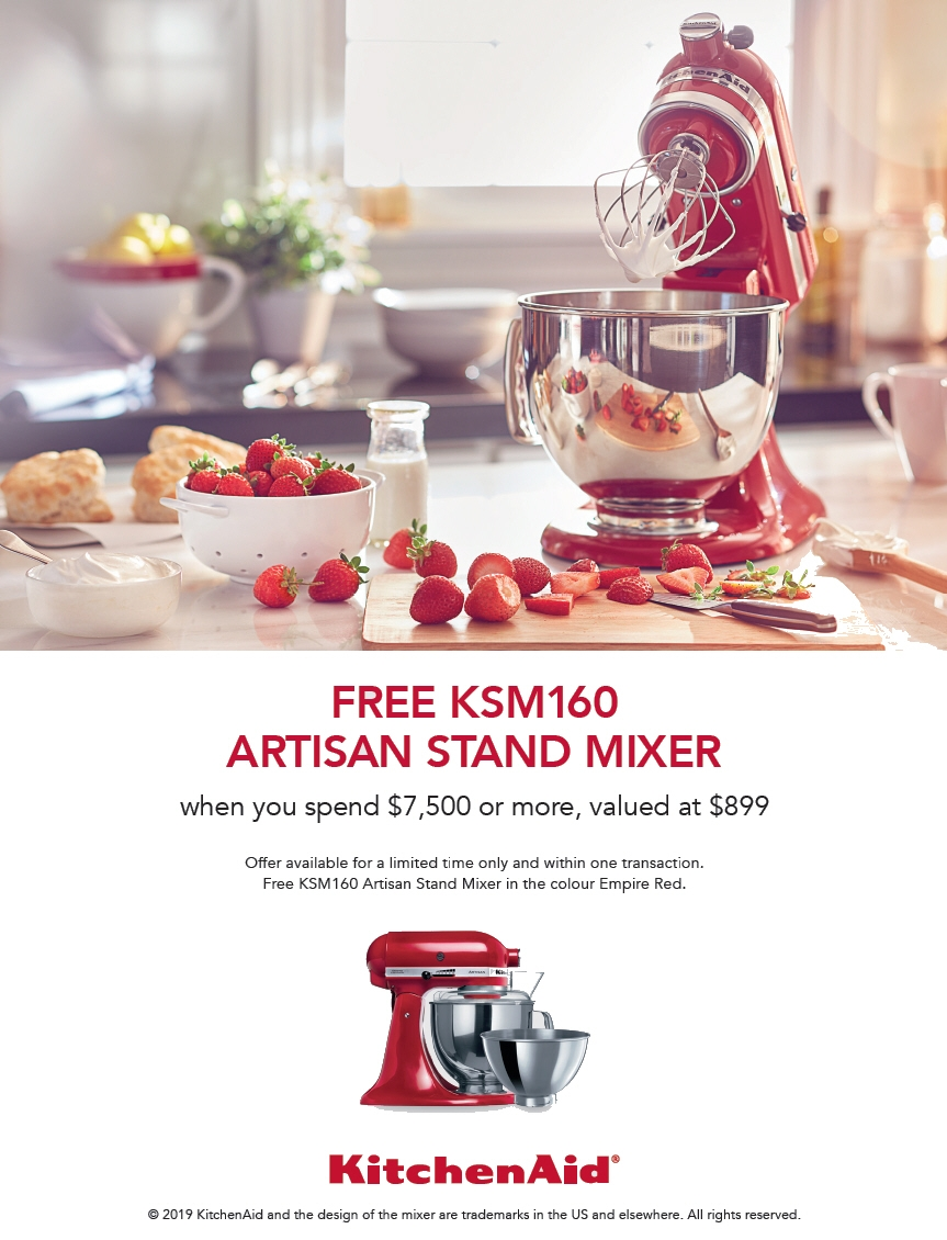 KitchenAid Promotion FREE KSM160 Artisan Mixer with Spend over 7500$