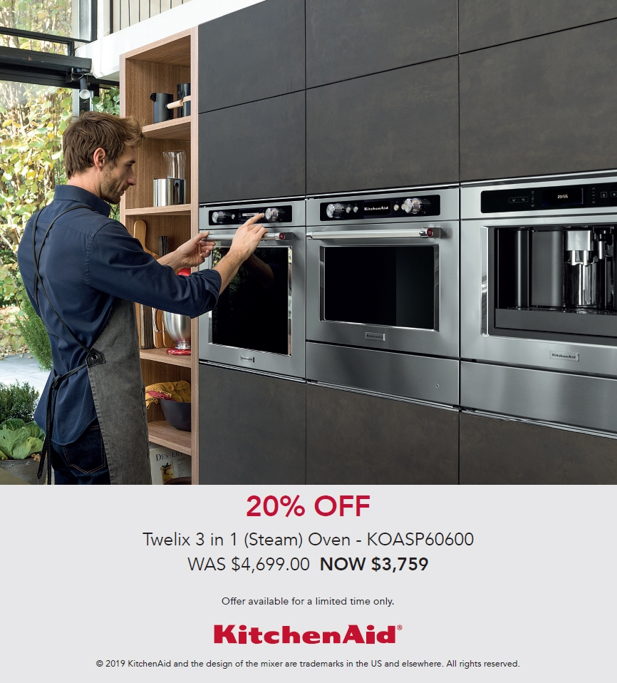 KitchenAid Promotion 20% off Twelix 3 in 1 Steam Oven