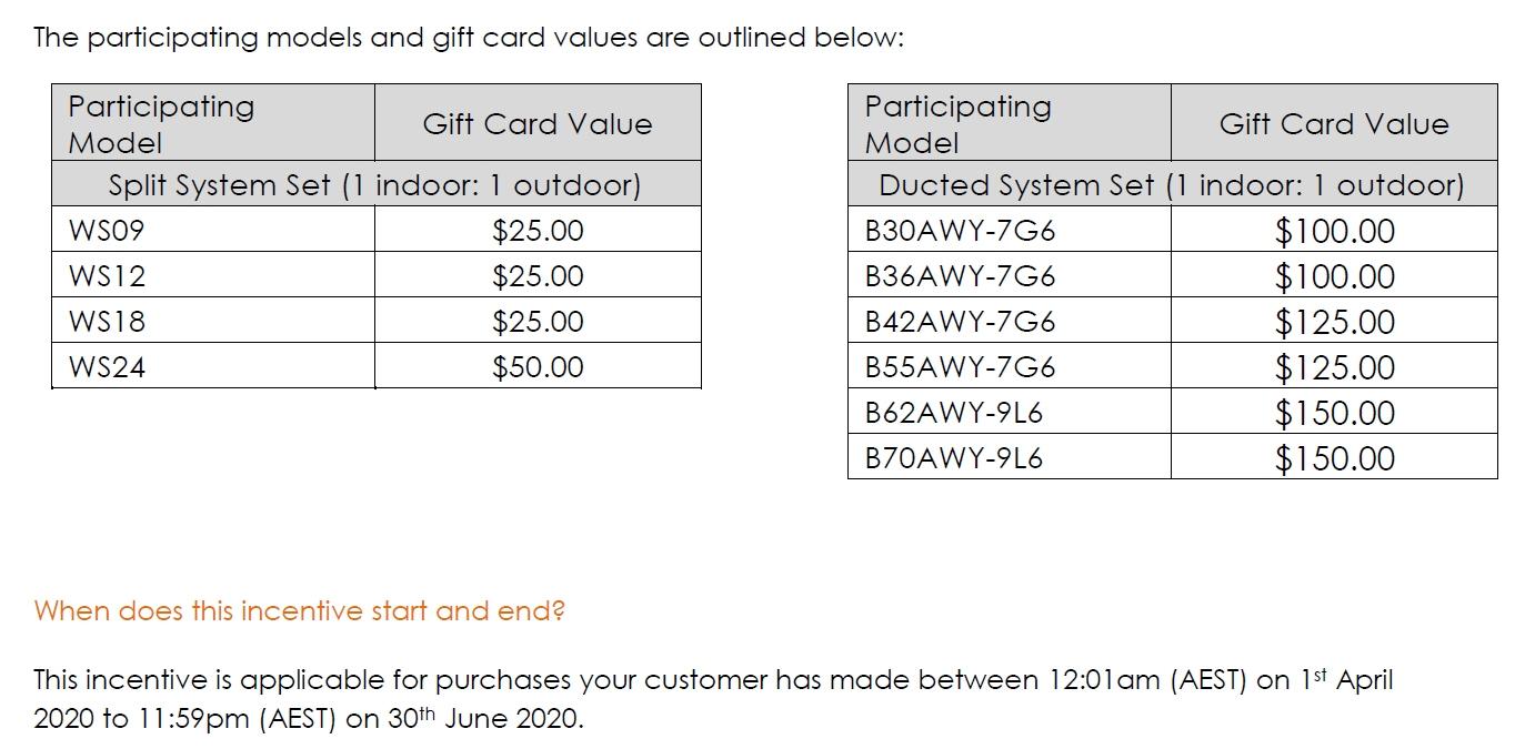 LG Aircon Dealer Winter Incentive 2020 Models