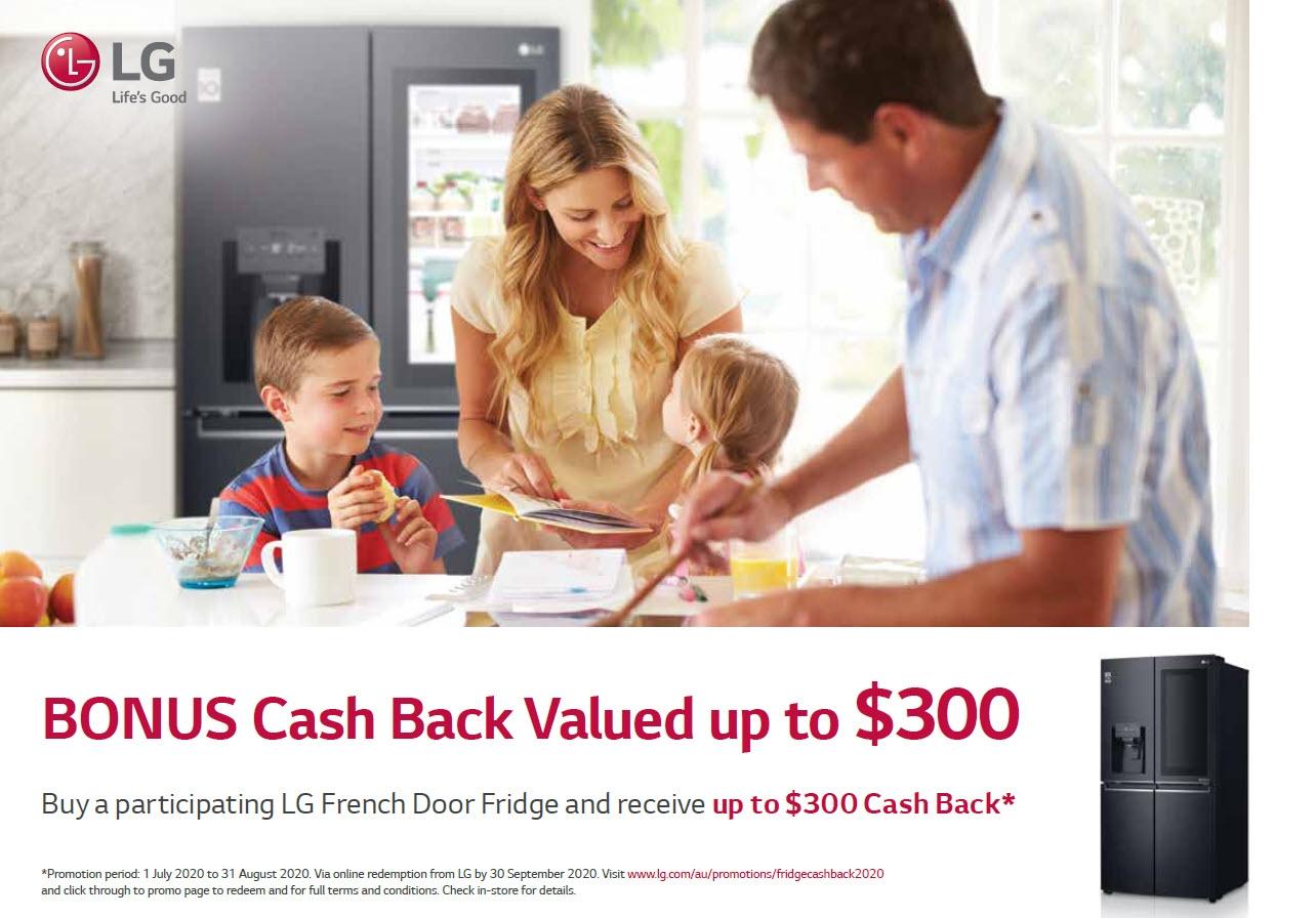 LG Bonus Cash Back French Door Fridge  July August 2020