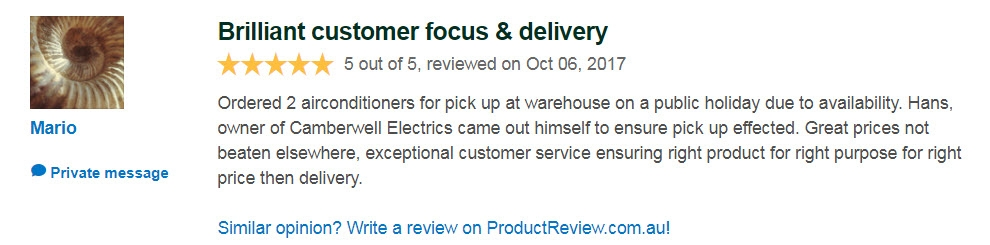 Camberwell Electrics 5 Star Review by M  on Product Review Site