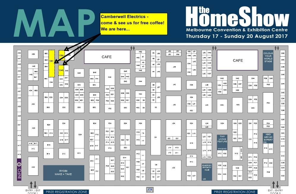 Camberwell Electrics Melbourne Home Show 2017 Map