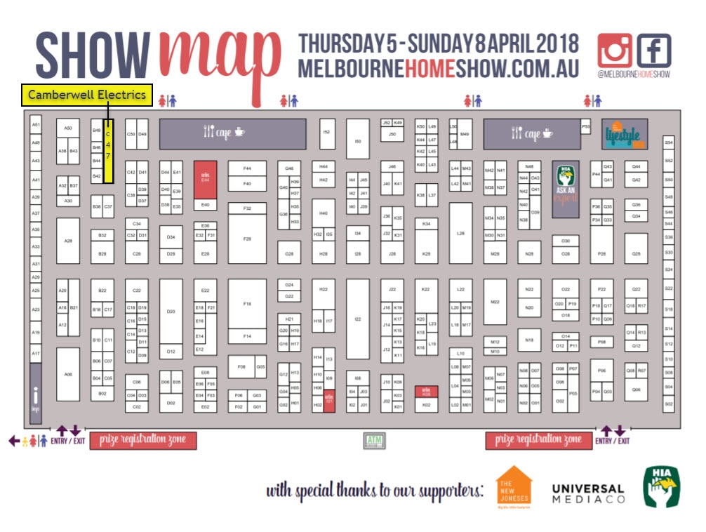 Camberwell Electrics Melbourne Home Show April 2018 Map