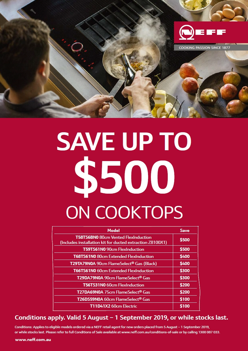 Save Upto $500 on Neff Cooktop