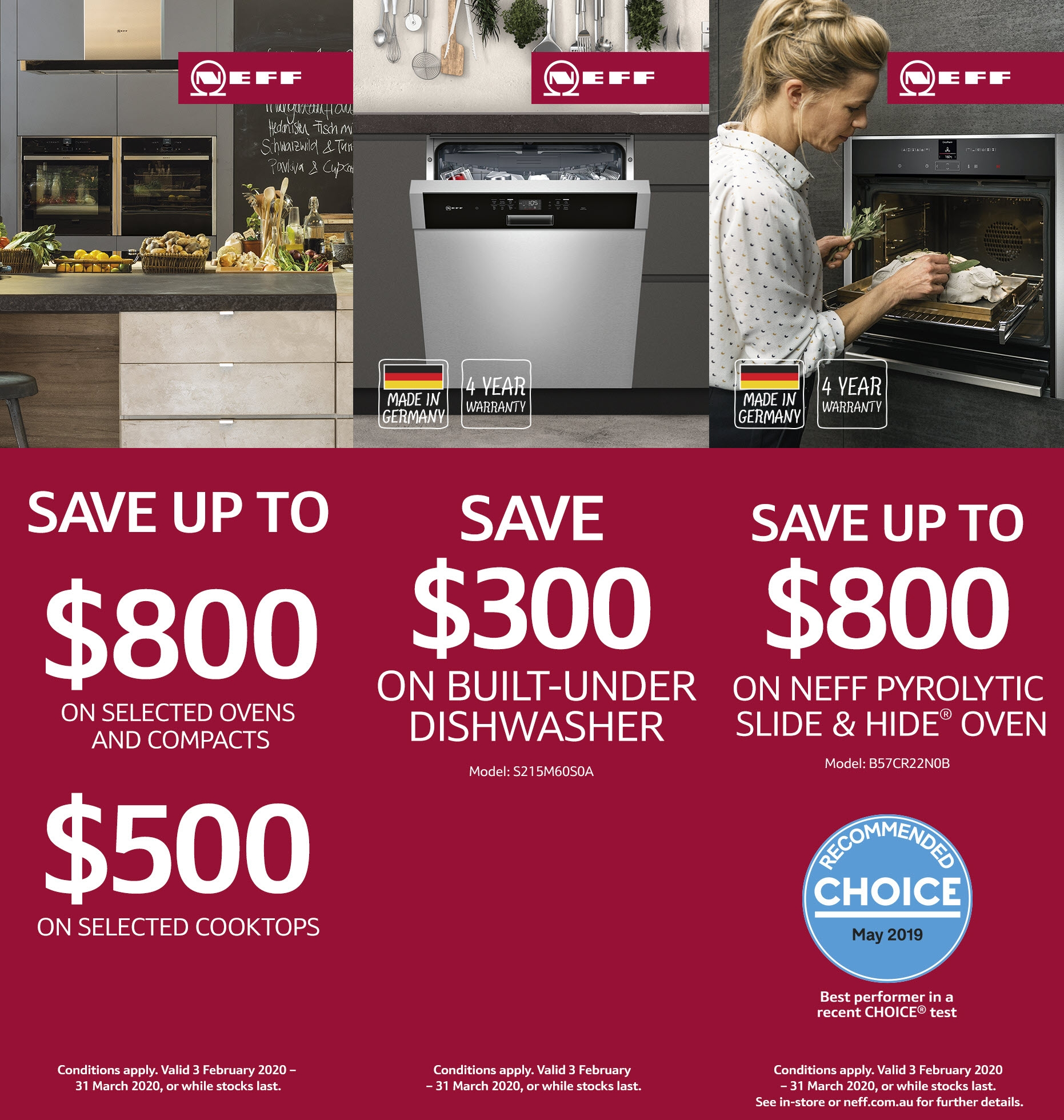 NEFF Oven Cooktop Dishwasher Promotion Feb March 2020