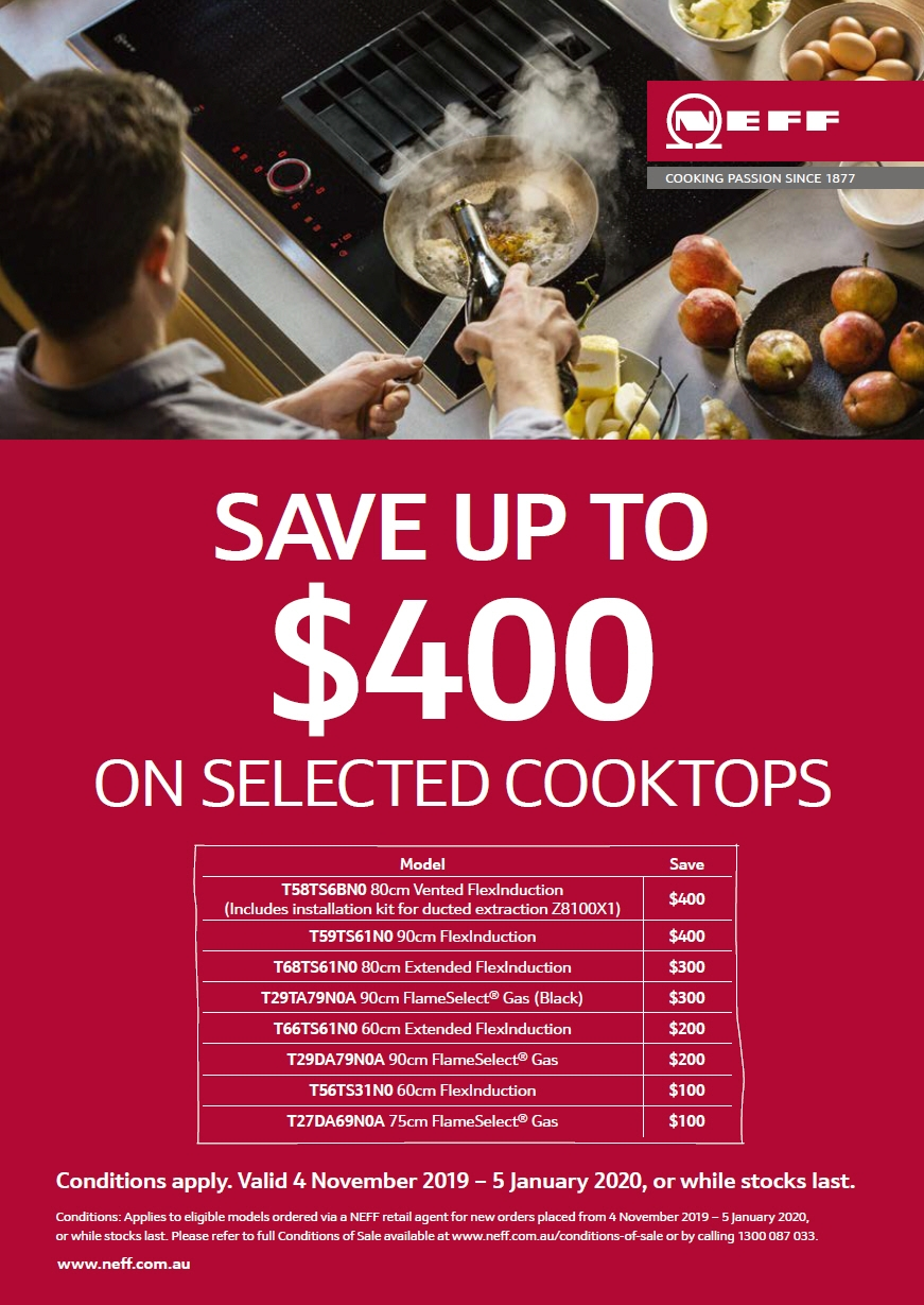 NEFF Save $400 on Selected CookTop
