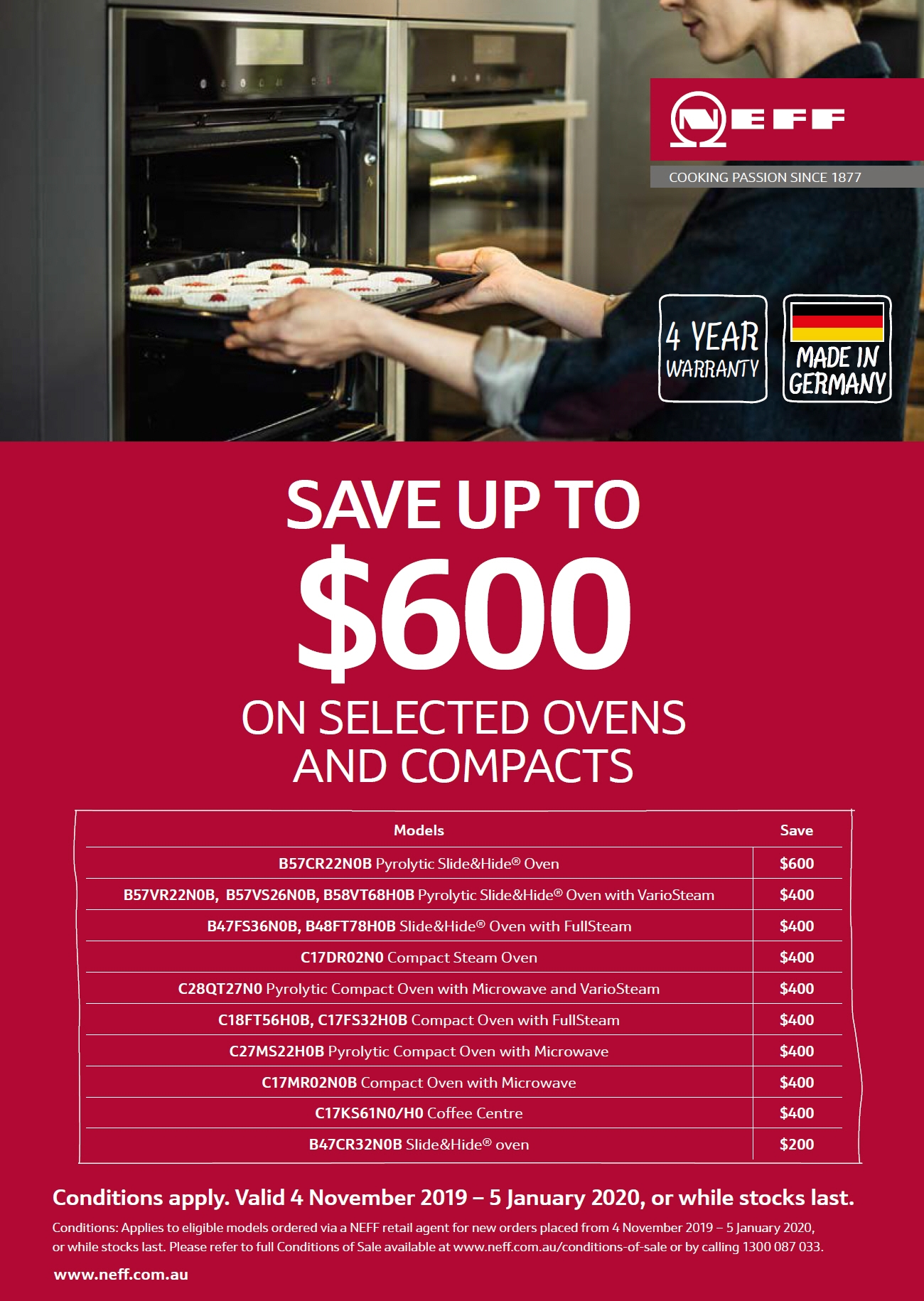 NEFF Save $600 on Selected Oven
