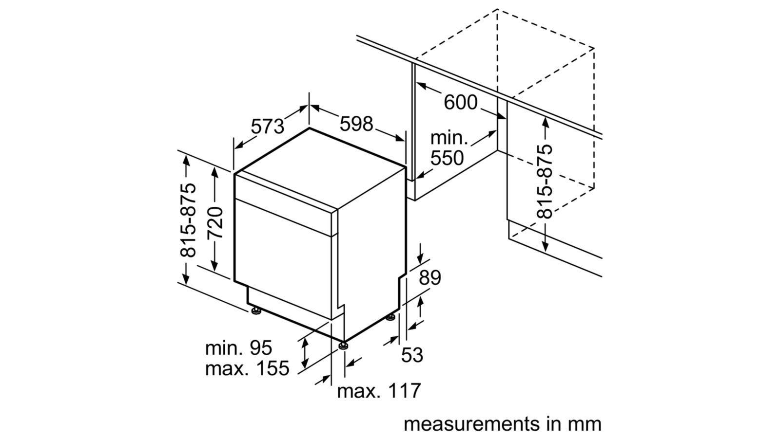 NEFF S215M60S0A Installation Dimensions