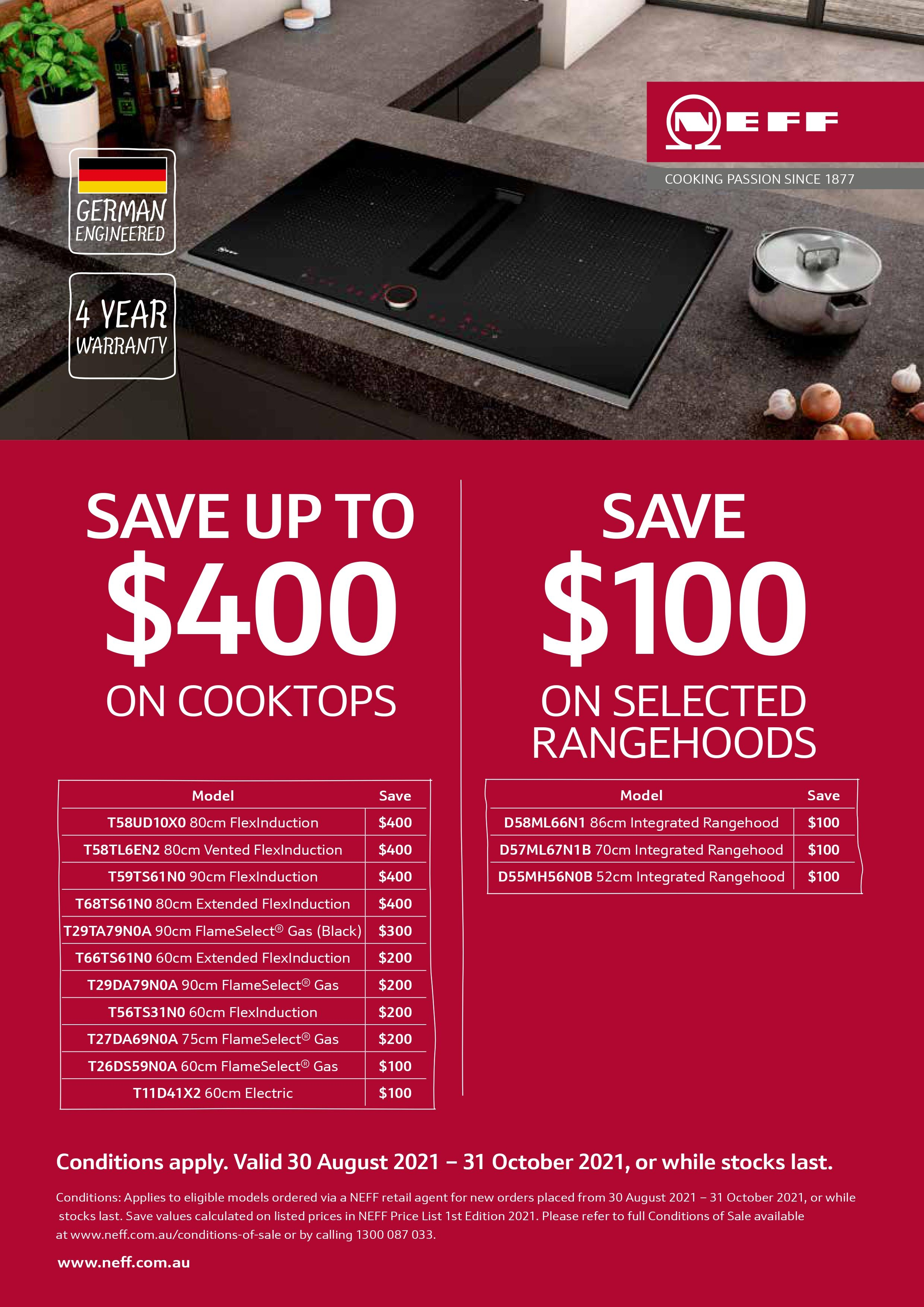 NEFF Save Up To $400 Cooktops Promo Sep Oct 2021