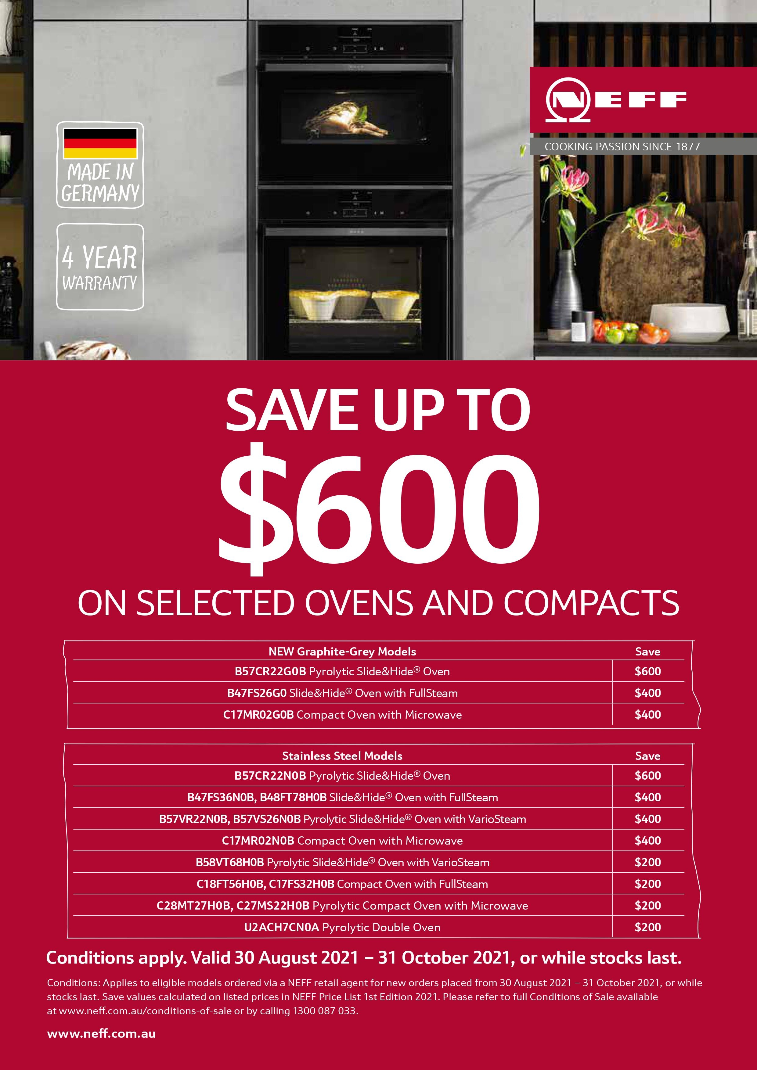 NEFF Save Up To $600 Ovens Promo Sep Oct 2021