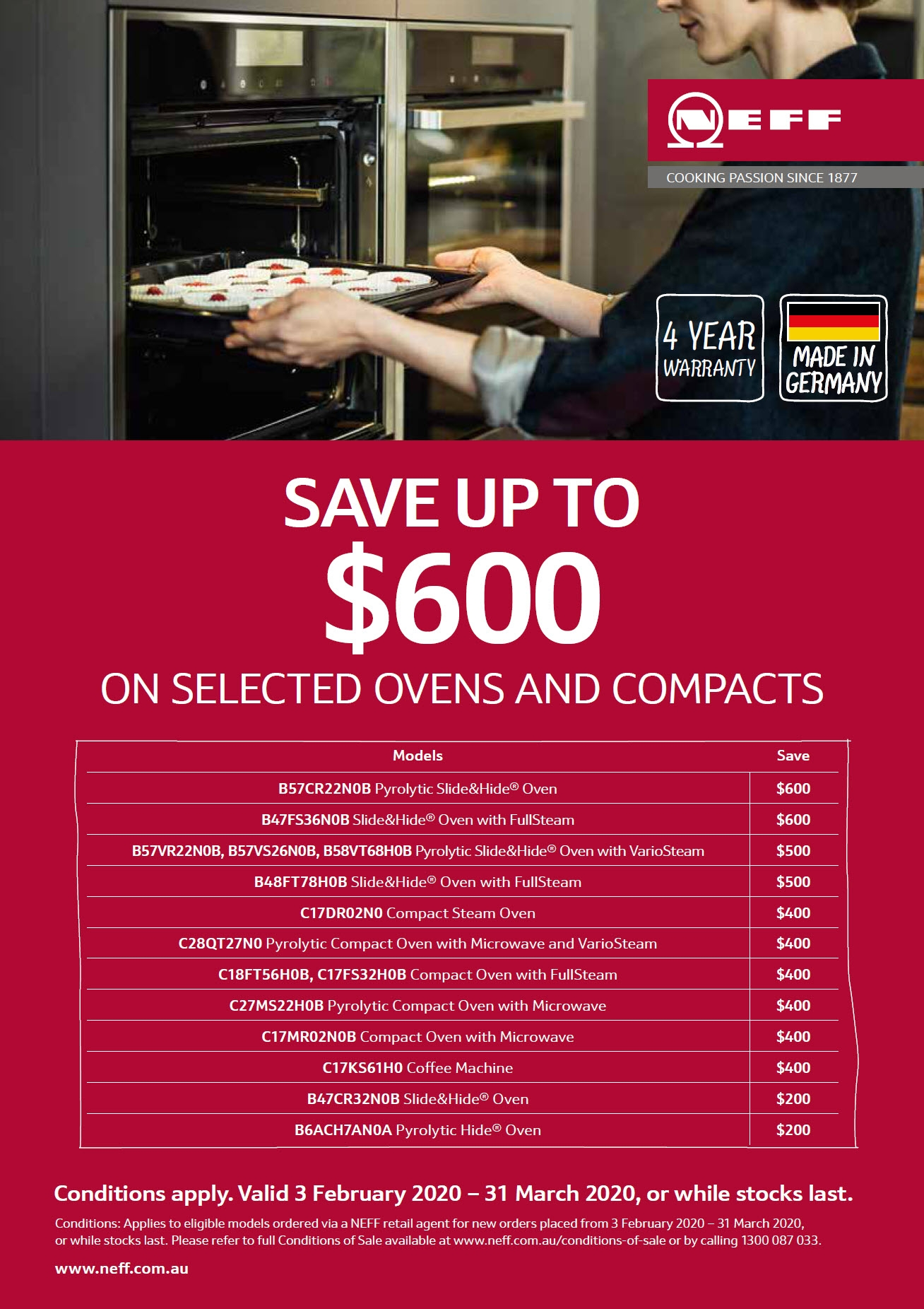NEFF Save upto $600 on Selected Oven and Compacts