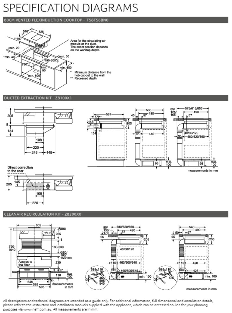 NEFF T58TS6BN0 80cm Vented FlexInduction Cooktop Specification Diagrams