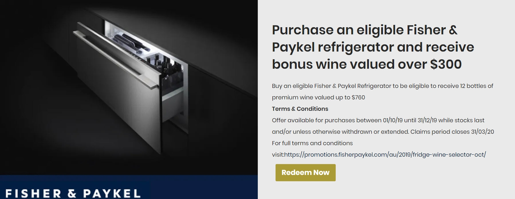 Fisher & Paykel Bonus Wine Promotion