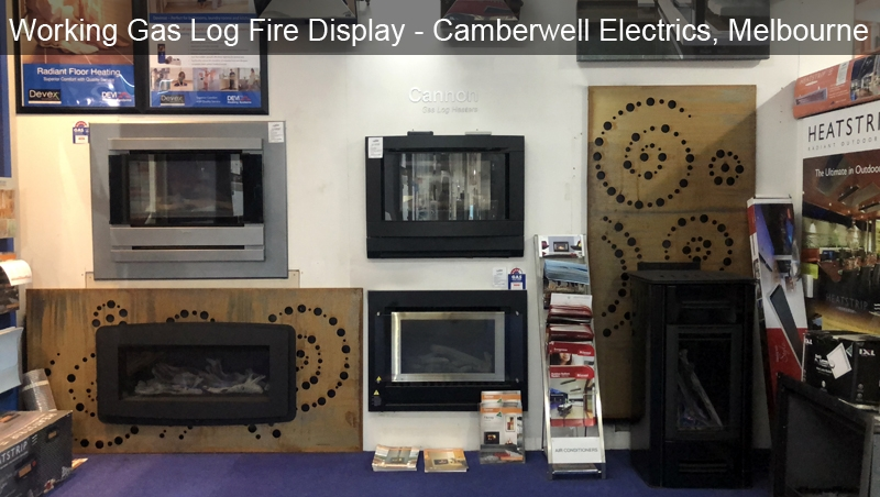 Working Gas Log Fire Display at Camberwell Electrics, Melbourne