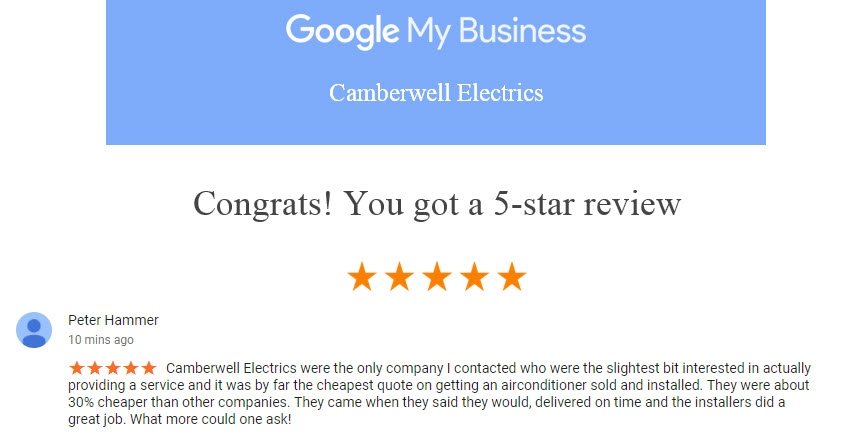 Camberwell Electrics 5 Star Review by Peter Hammer