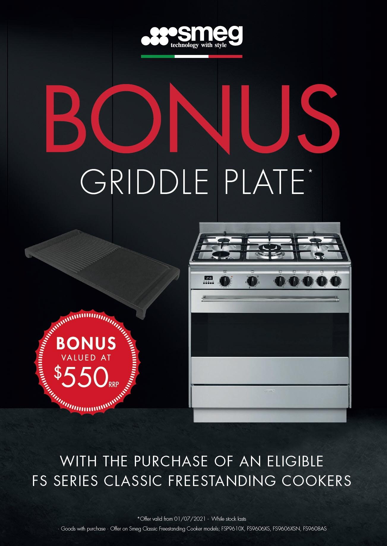 SMEG Bonus Griddle Plate Valued at $550 July 2021