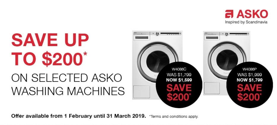 Save $200 on selected Asko washing Machines