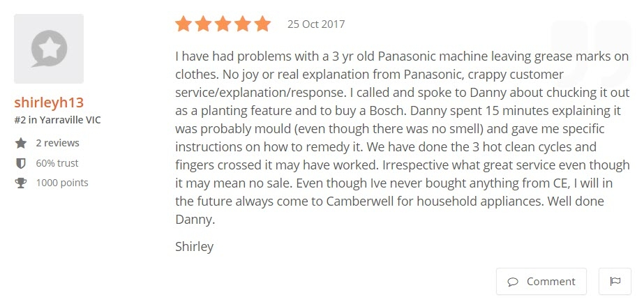 Camberwell Electrics 5 Star Review by Shirley