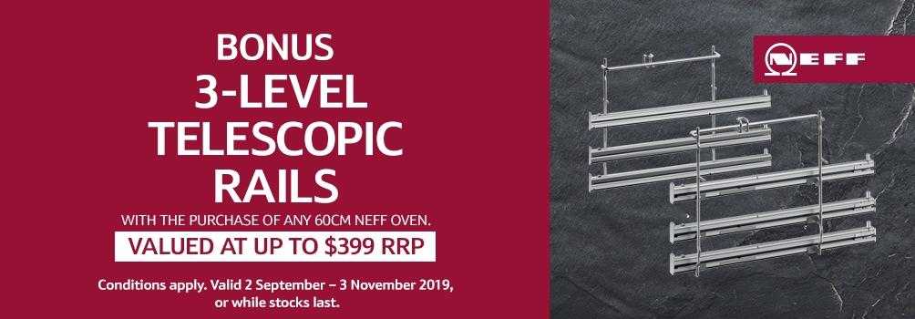 NEFF Bonus Telescopic Rails Purchase any 60cm Neff Oven