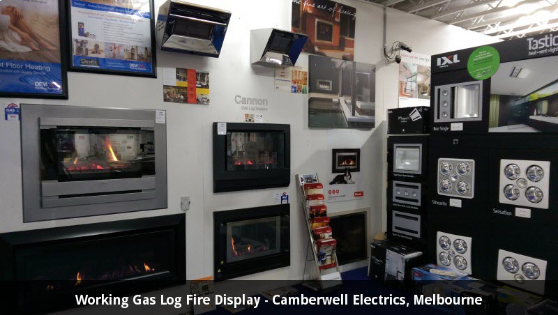 Working Gas Log Fire Display Camberwell Electrics Melbourne